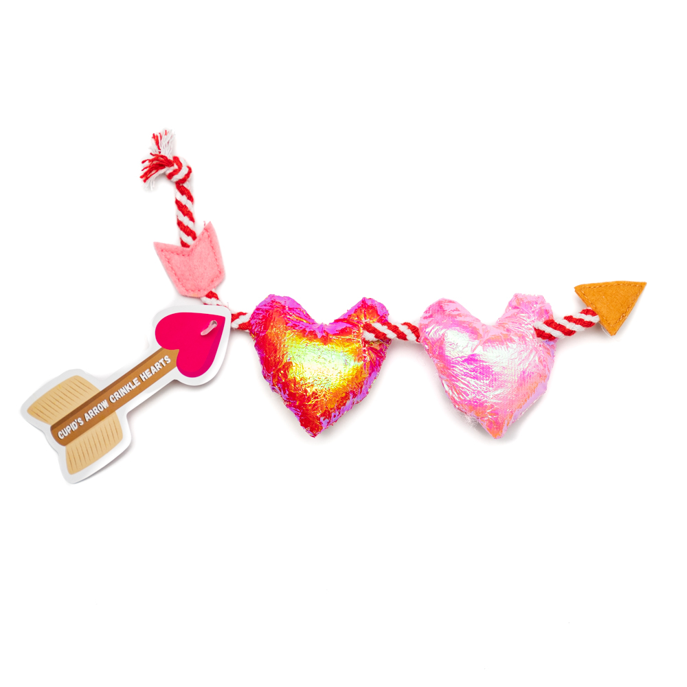 Cupid's Arrow Crinkle Hearts on a String